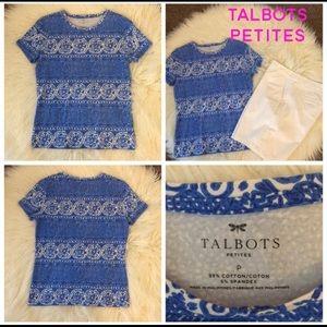 Talbots NWOT Petite P Blue & White Print T-Shirt